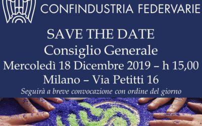 SAVE THE DATE – Consiglio Generale – Milano, 18 Dicembre 2019